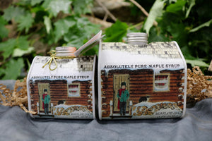Tin containers of maple syrup