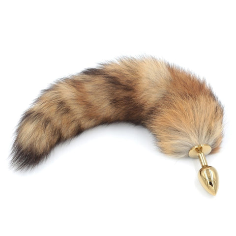 16.5″ Crystal Fox Tail Plug with Golden Metal Anal Plug