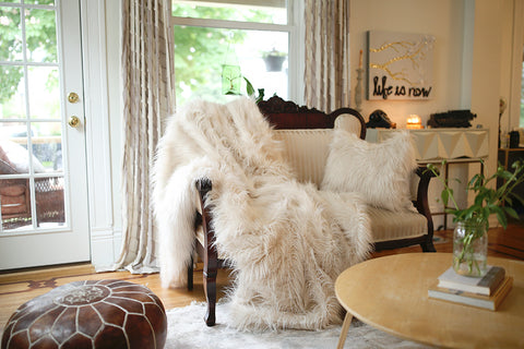 victorian home buffalo New York with neutral cream faux fur pillow and throw by FuRmanity