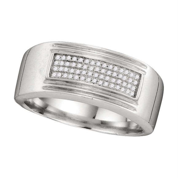 10k White Gold Mens Diamond Rectangle Cluster Wedding Band Ring 1/6 Cttw