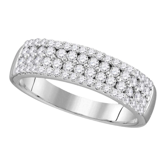10kt White Gold Womens Round Pave-set Diamond Double Two Row Band Ring 3/4 Cttw