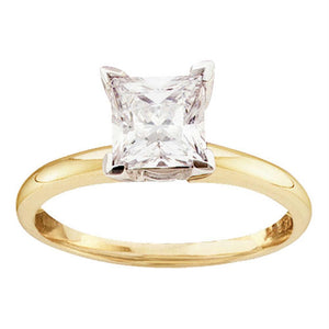 14kt Yellow Gold Womens Princess Diamond Solitaire Bridal Wedding Engagement Ring 1/4 Cttw