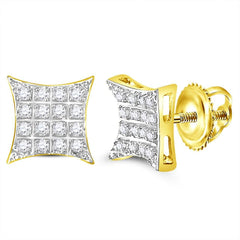 10kt Yellow Gold Mens Round Diamond Kite Square Cluster Stud Earrings 1-10 Cttw
