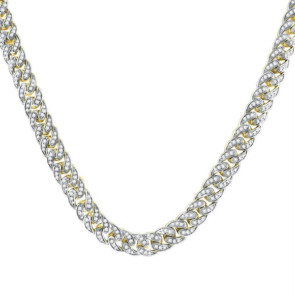 10kt Yellow Gold Mens Round Diamond Cuban Link Chain Necklace 7.00 Cttw