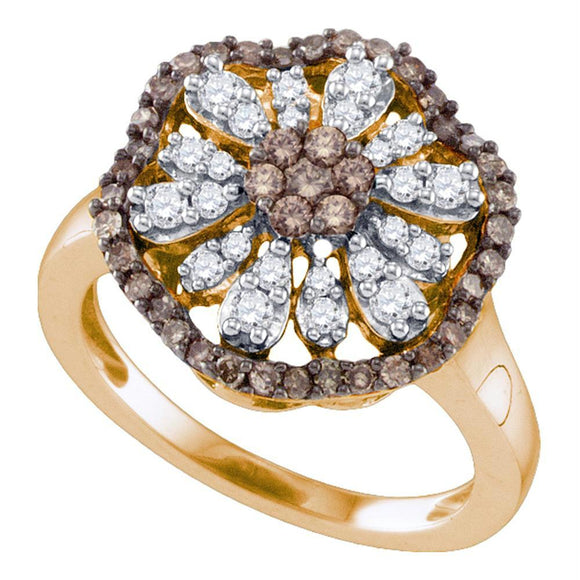 10k Rose Gold Womens Cognac-brown Color Enhanced Round Diamond Flower Cluster Ring 3/4 Cttw