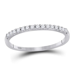 14k White Gold Round Diamond Womens Slender Stackable Size 5 Wedding Band 1/6 Cttw