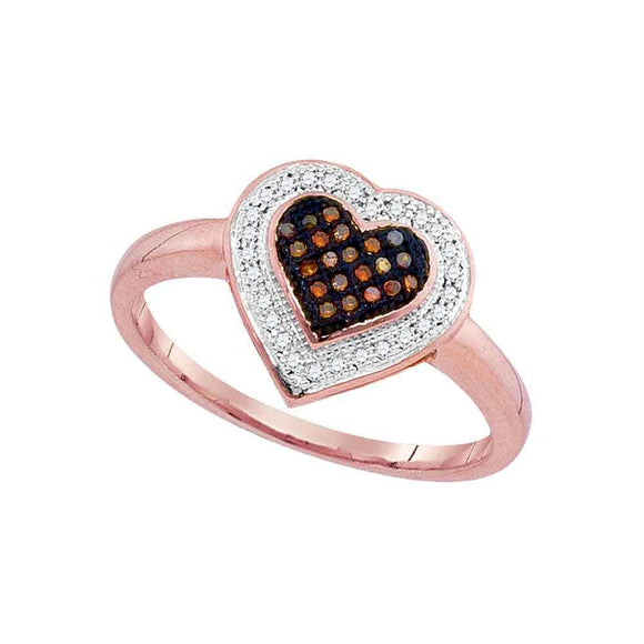 10kt Rose Gold Womens Round Red Color Enhanced Diamond Heart Ring 1/6 Cttw