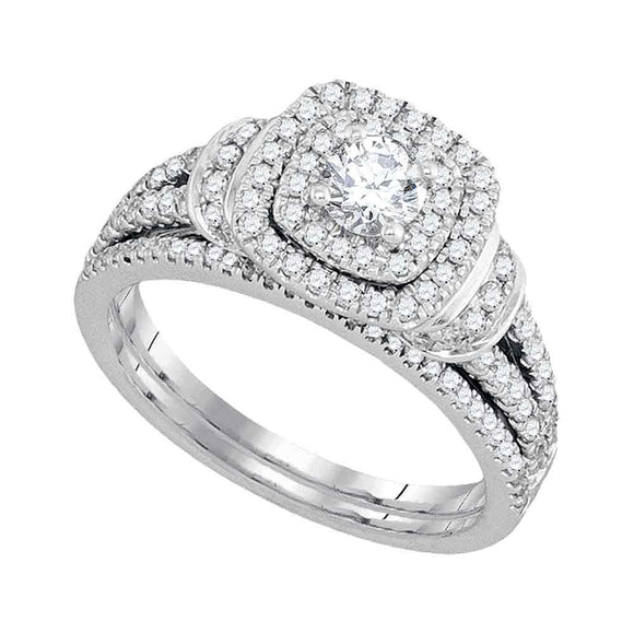 14kt White Gold Womens Diamond Round Double Halo Bridal Wedding Engagement Ring Band Set 1 Cttw
