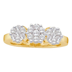 14kt Yellow Gold Womens Round Diamond Cluster Ring 3/4 Cttw