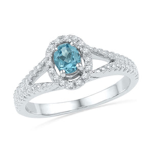 10kt White Gold Womens Oval Lab-created Blue Topaz Solitaire Diamond Ring 1/2 Cttw