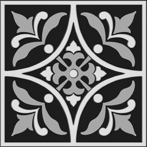 "Bonne Ville | Decorative Tile | White on Black 8""x 8"" 