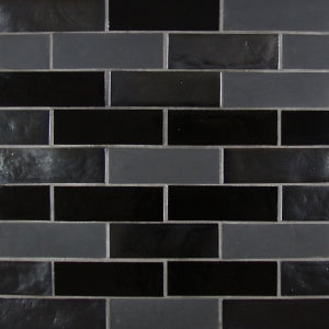 "Steel Blend | Glass Mosaic Tile 1""x4"""