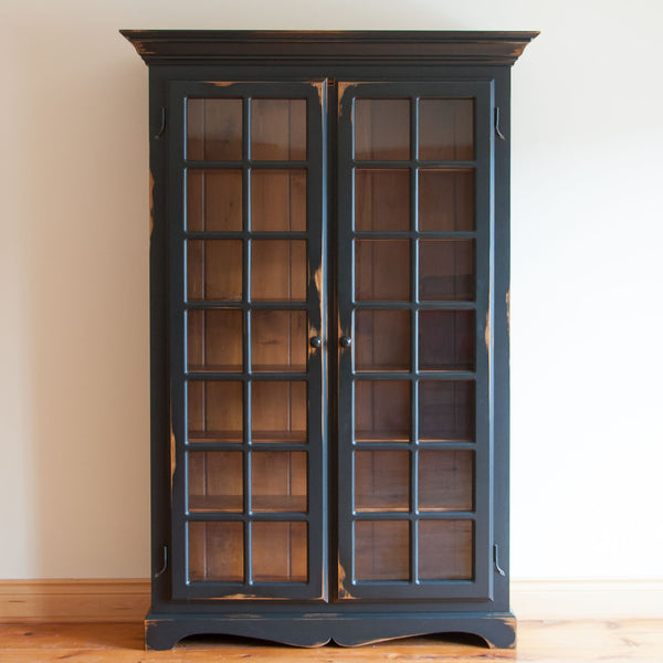 Meech Glazed Bookcase in Antique Black/ Wiliams