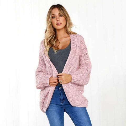 ITDIW Damen Dicke Strickjacke Kurz Warme Grobstrickjacke Winter Strickmantel Casual Elegant Cardigan-IWCA01-Altrosa-01