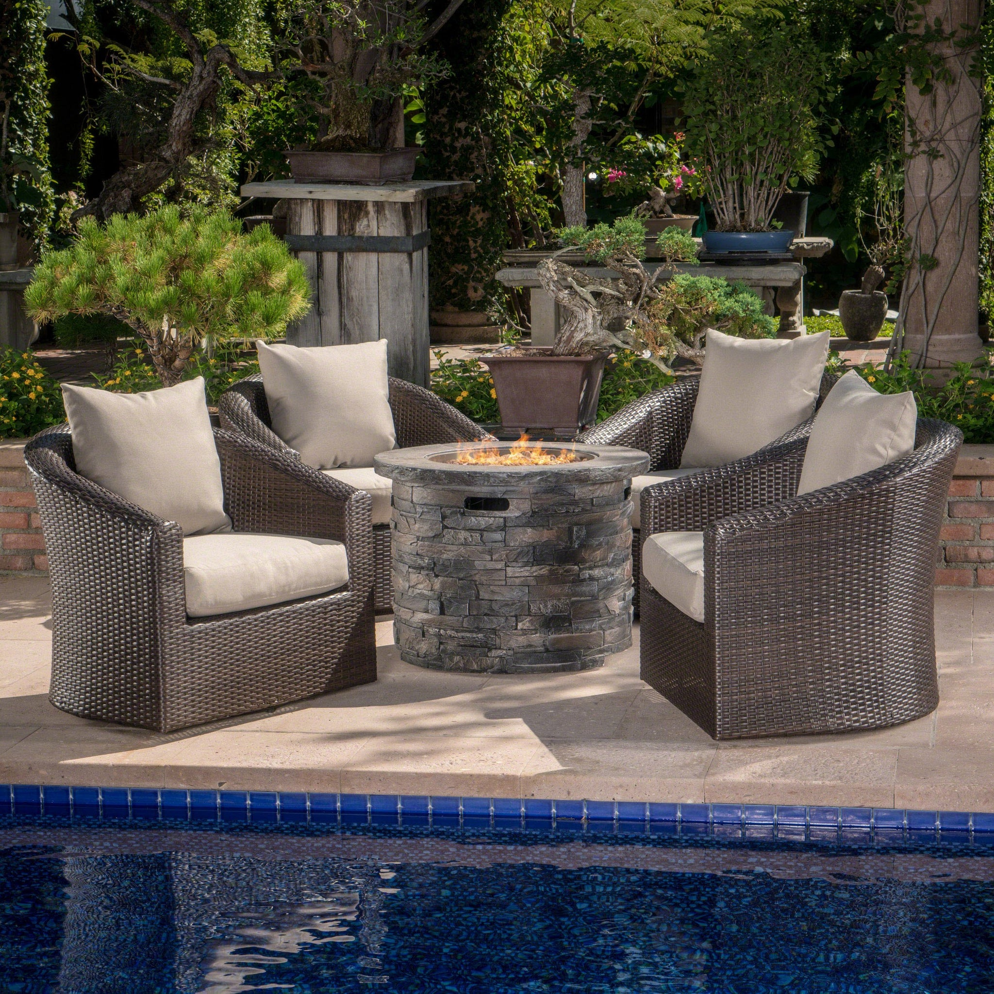 Groovy Glendale Outdoor 5 Piece Mixed Wicker Swivel Club Chair Set With Natural Stone Fire Pit And Mixed Water Resistant Cushions Evergreenethics Interior Chair Design Evergreenethicsorg
