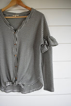 Load image into Gallery viewer, Stevie stripe tie top - black/white