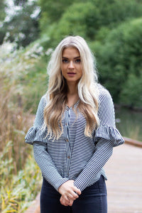Stevie stripe tie top - black/white
