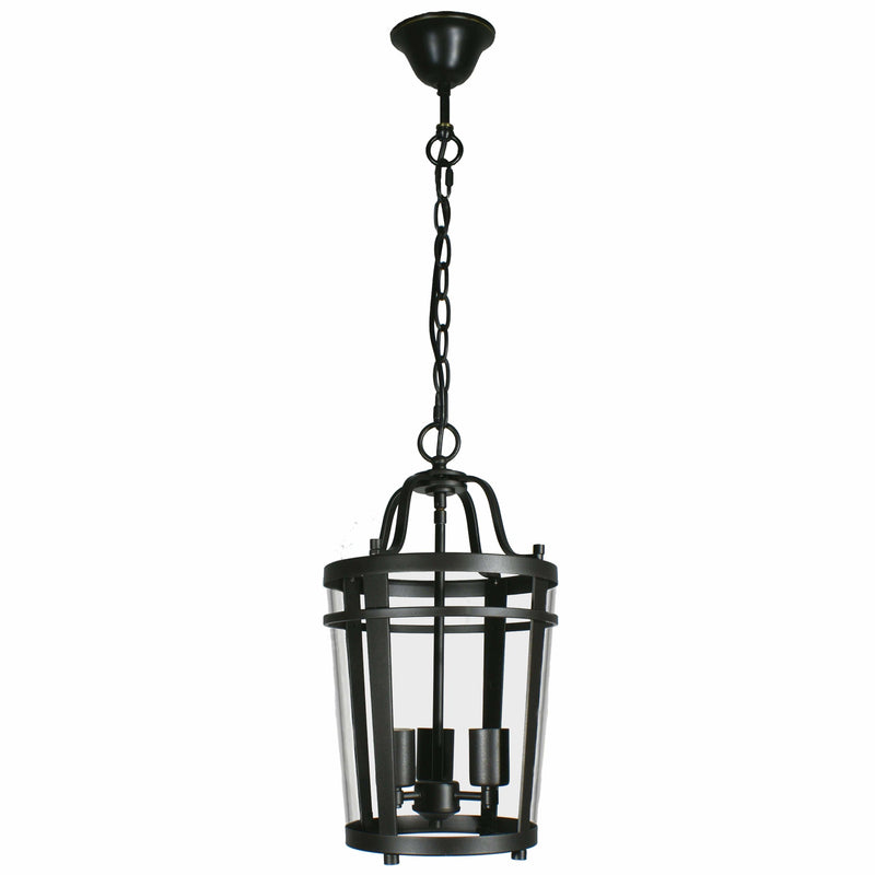 Chevron Lantern 3 Light Pendant in Bronze and Clear - crystal-palace-lighting
