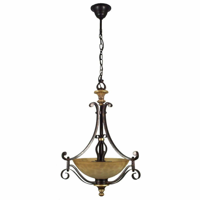 Manhattan 3 Light Single Suspension Light in Bronze - crystal-palace-lighting