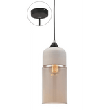 Casa Pendant, Cylinder in White with Amber Glass - crystal-palace-lighting