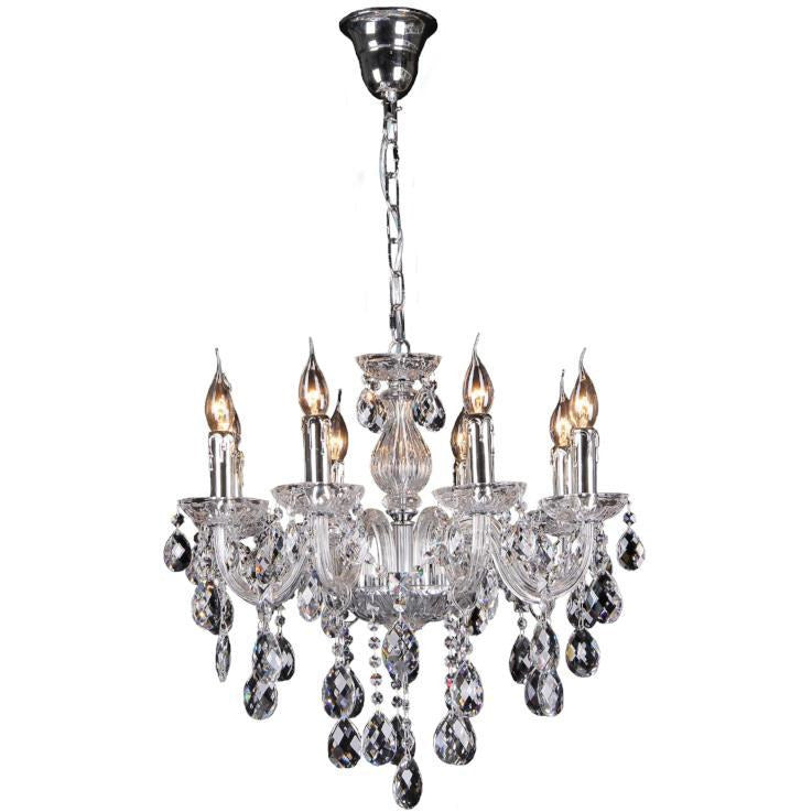 Venice 8 Light Chandelier in Chrome with Clear Crystals - crystal-palace-lighting
