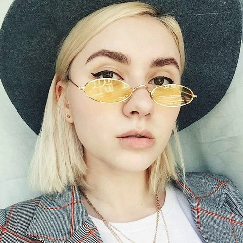 Classic Vintage Small Oval Retro Sunglasses - SleekSass