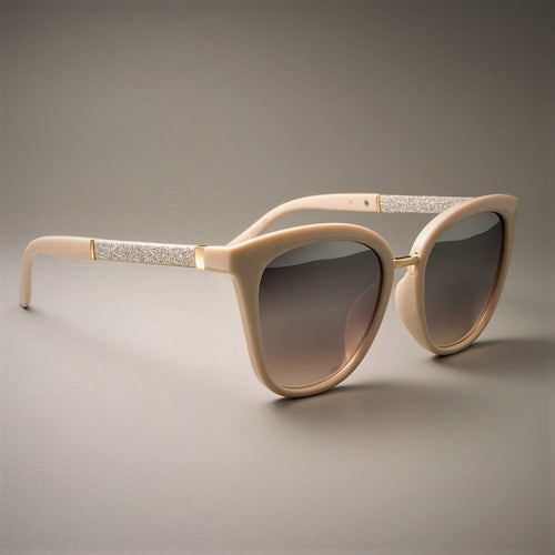 Beige Frame Sunglasses With Polished Silver Metal Trim - SleekSass