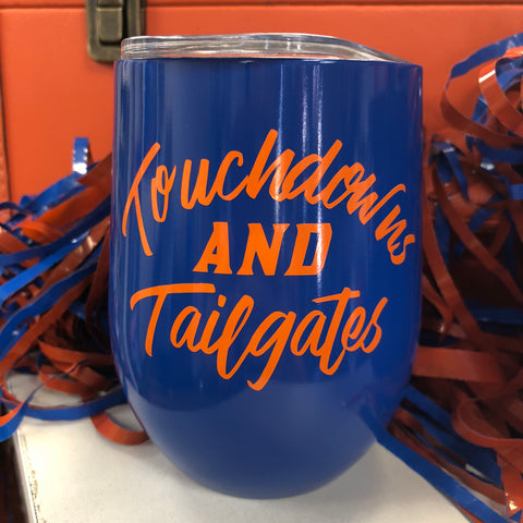 Touchdowns and Tailgates Wine Tumbler