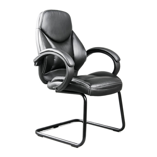 Black Bonded Leather Office Guest Chair