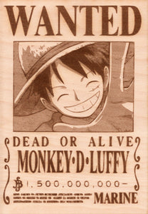 "One Piece: Wood Printed ""Wanted Poster""- Monkey D. Luffy"