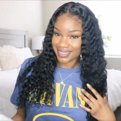 "2019 New deep wave basic cap lace front wig 20"" Affordable wig"