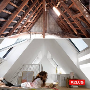 Before and after loft space with Velux roof windows