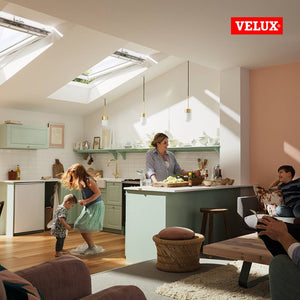 Velux Centre-pivot roof windows in kitchen area
