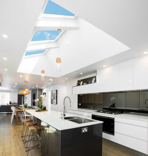 Velux manual skylights in kitchen