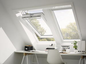 Velux Centre-pivot roof window with white edging