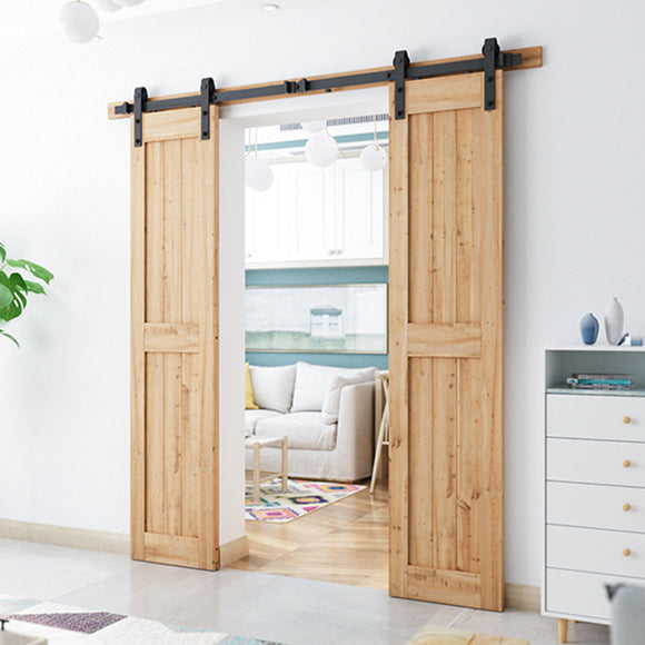 6.6ft Heavy Duty Double Door Sliding Barn Door Hardware Kit-Smoothly and Quietly-Easy to Install-Includes Step-by-Step Installation Instruction Fit 20