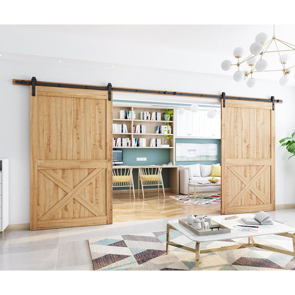 SmartStandard 16ft Double Door Sliding Barn Door Hardware Kit- Super Smoothly and Quietly - Simple and Easy to Install - Includes Step-by-Step Installation Instruction - Fit 40