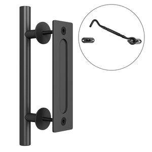 "SMARTSTANDARD Heavy Duty 12"" Flush and Pull Barn Door Handle Set with Latch, Large Two-Side Rustic Cast Iron Gate Door Handle for Garages Furniture Shed Doors, Black Powder Coated Finish, Round"