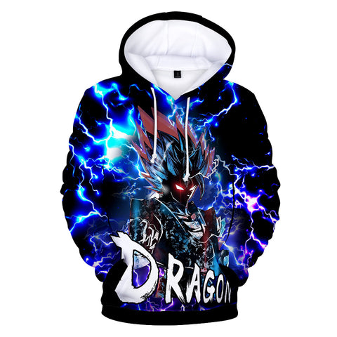 Image of Dragon Ball Z Hoodies - Dragon Ball Anime Series GOKU Lightning Blue Super Cool Hoodie