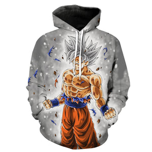 Dragon Ball Z Hoodies - Ultra Instinct Goku Grey Pullover Hoodie
