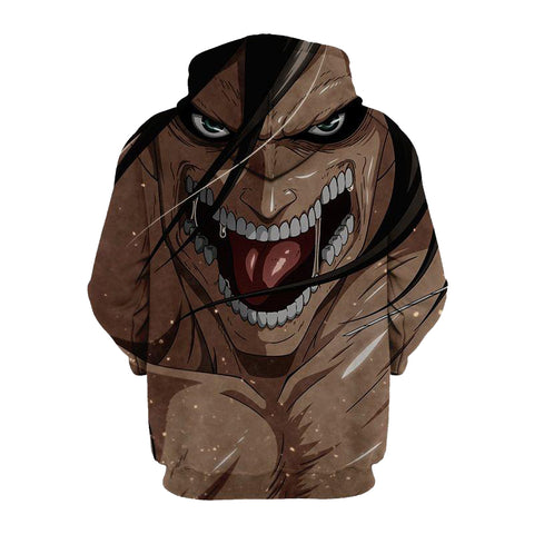 Eren and His Titan Anime- Attack 3D Printed Hoodie