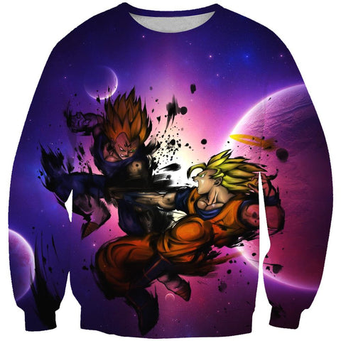 Dragon Ball Z SSJ Goku vs Majin  Hoodies - Vegeta Pullover Purple Hoodie