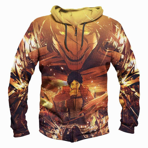 Attack On Titan Hoodis - Pullover Ruins Yellow Hoodie