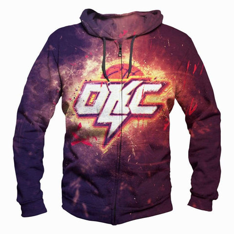 Image of Basktball Oklahoma City Thunder Hoodies - Pullover Thunder 3D Hoodie