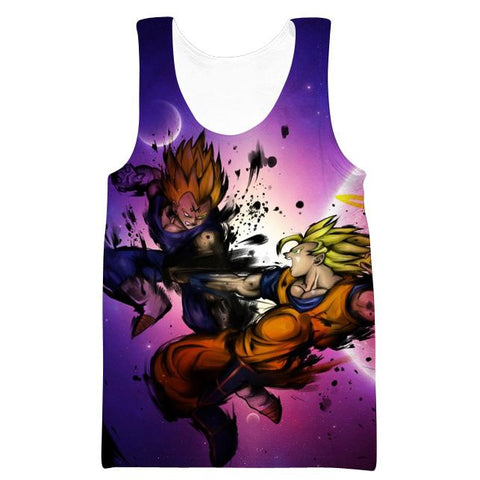 Image of Dragon Ball Z SSJ Goku vs Majin  Hoodies - Vegeta Pullover Purple Hoodie