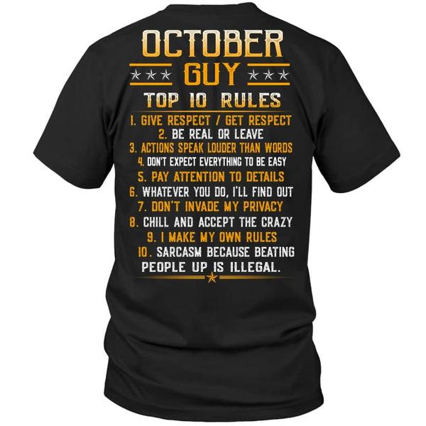 Top Rules Guy October - Hanes Tagless Tee / Black / S - Apparel