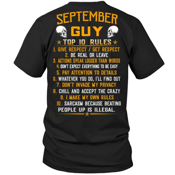 Top Rules Guy September - Hanes Tagless Tee / Black / S - Apparel