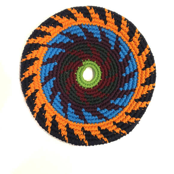Mayan Frisbee Black, Orange, and Blue Pattern (Small 7.5 inch)