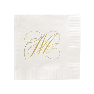 Flourish Single Letter Foil Pressed Napkins