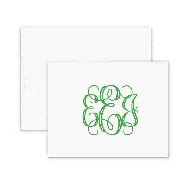 Thermography Monogram Note Card
